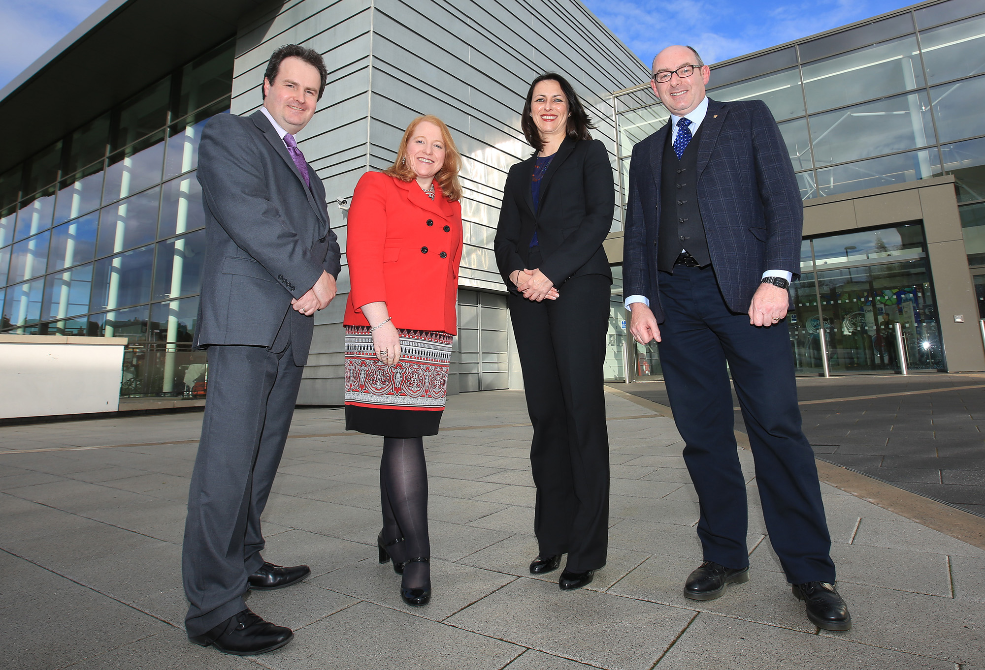 Belfast MET E3, One City Conference 'Lifting the City'. pictured: Dan McGinn (University of Ulster), Naomi Long MP (Alliance), Jennifer Harrison (QUB) and John D'Arcy (Open University) 95JC13