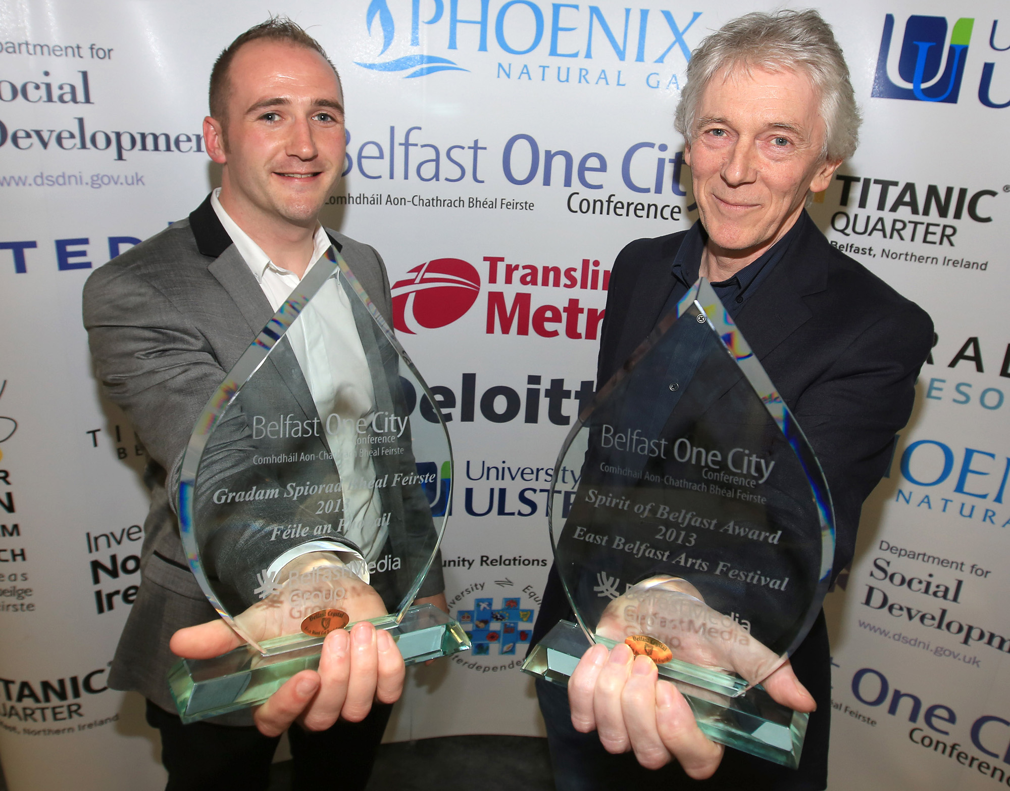 Belfast MET E3, One City Conference 'Lifting the City' . pictured: Kevin Gamble (Feile an Phobail) and Maurice Kinkead (East Belfast Arts festival) 95JC13
