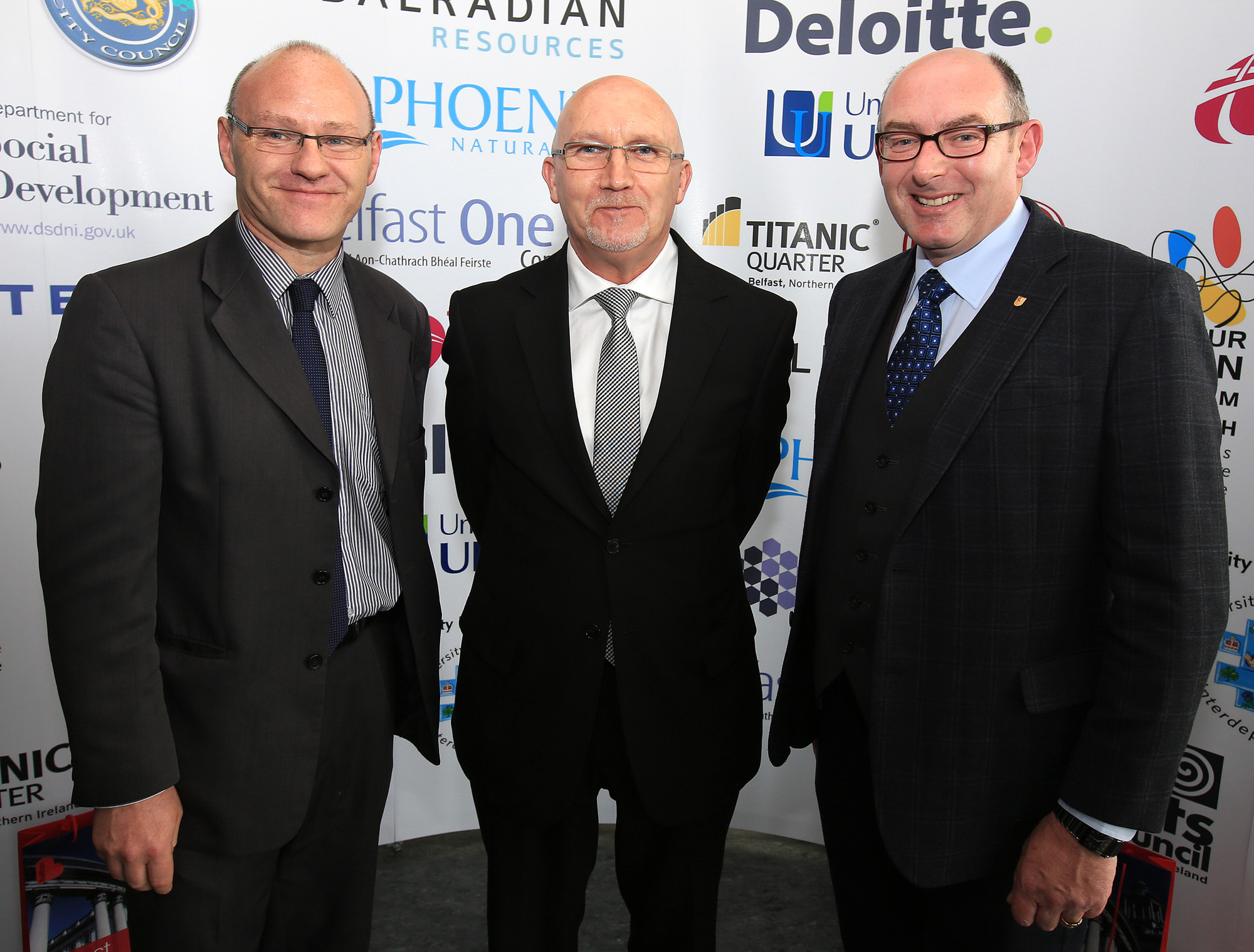 Belfast MET E3, One City Conference 'Lifting the City' . pictured: Paul Maskey MP, Bill Shaw (174 Trust) and John D'Arcy (Open University) 95JC13