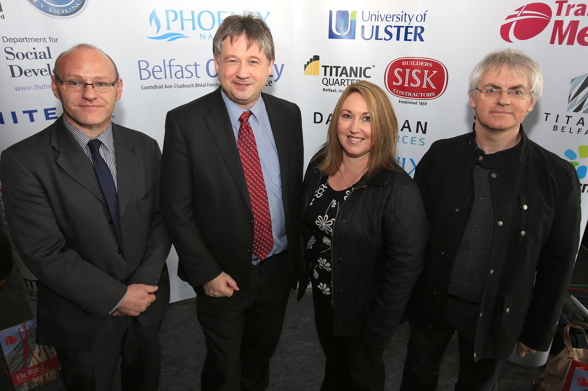 Belfast MET E3, One City Conference 'Lifting the City' . pictured: Paul Maskey MP, Basil McCrea MLA, Catherine Waterworth (Connswater Homes) and Michael Doherty (Doherty Architects) 95JC13