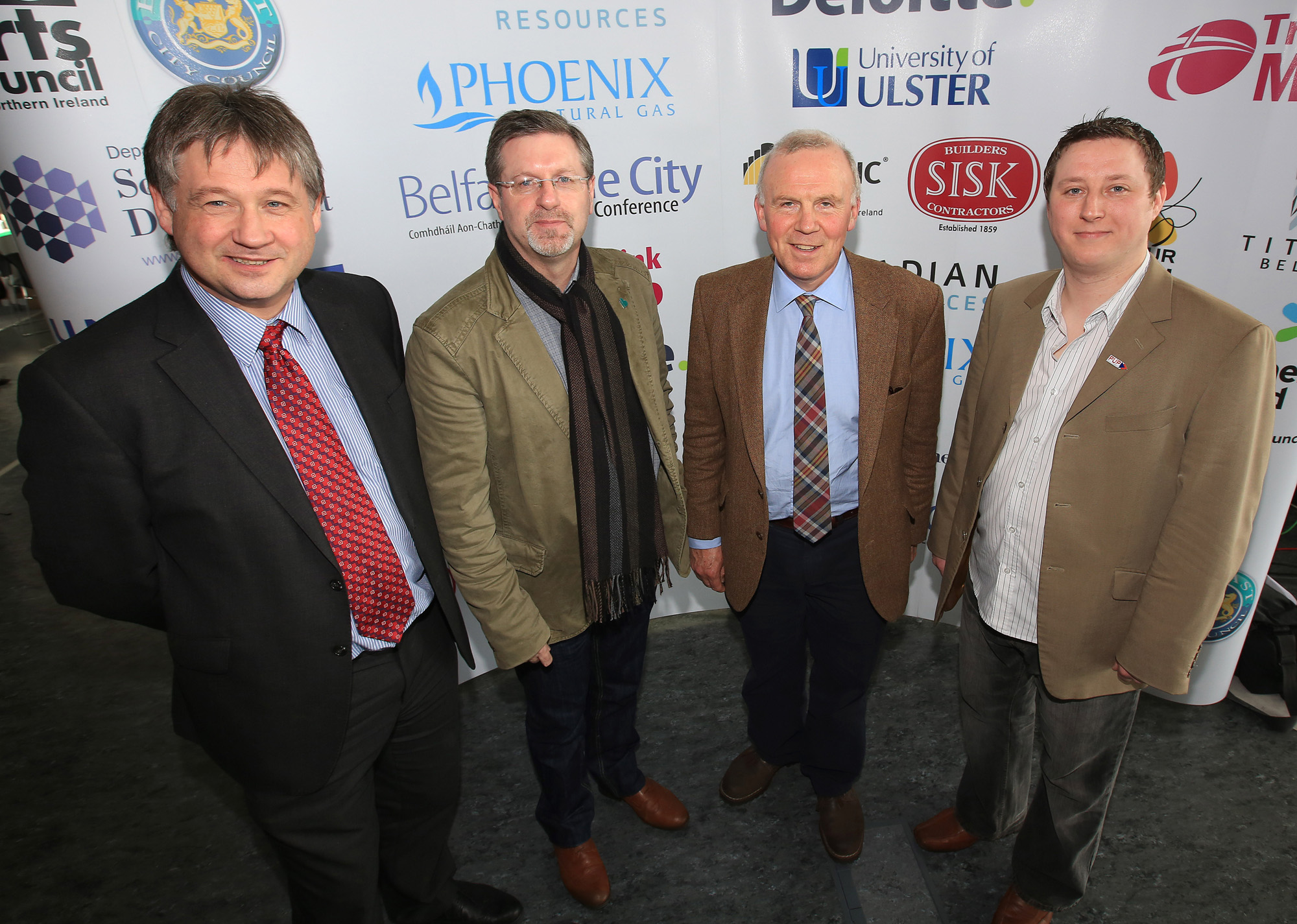 Belfast MET E3, One City Conference 'Lifting the City' . pictured: Basil McCrea MLA, Jim McVeigh (Sinn Fein councillor), John Kyle (PUP) and William Ennis (PUP) 95JC13