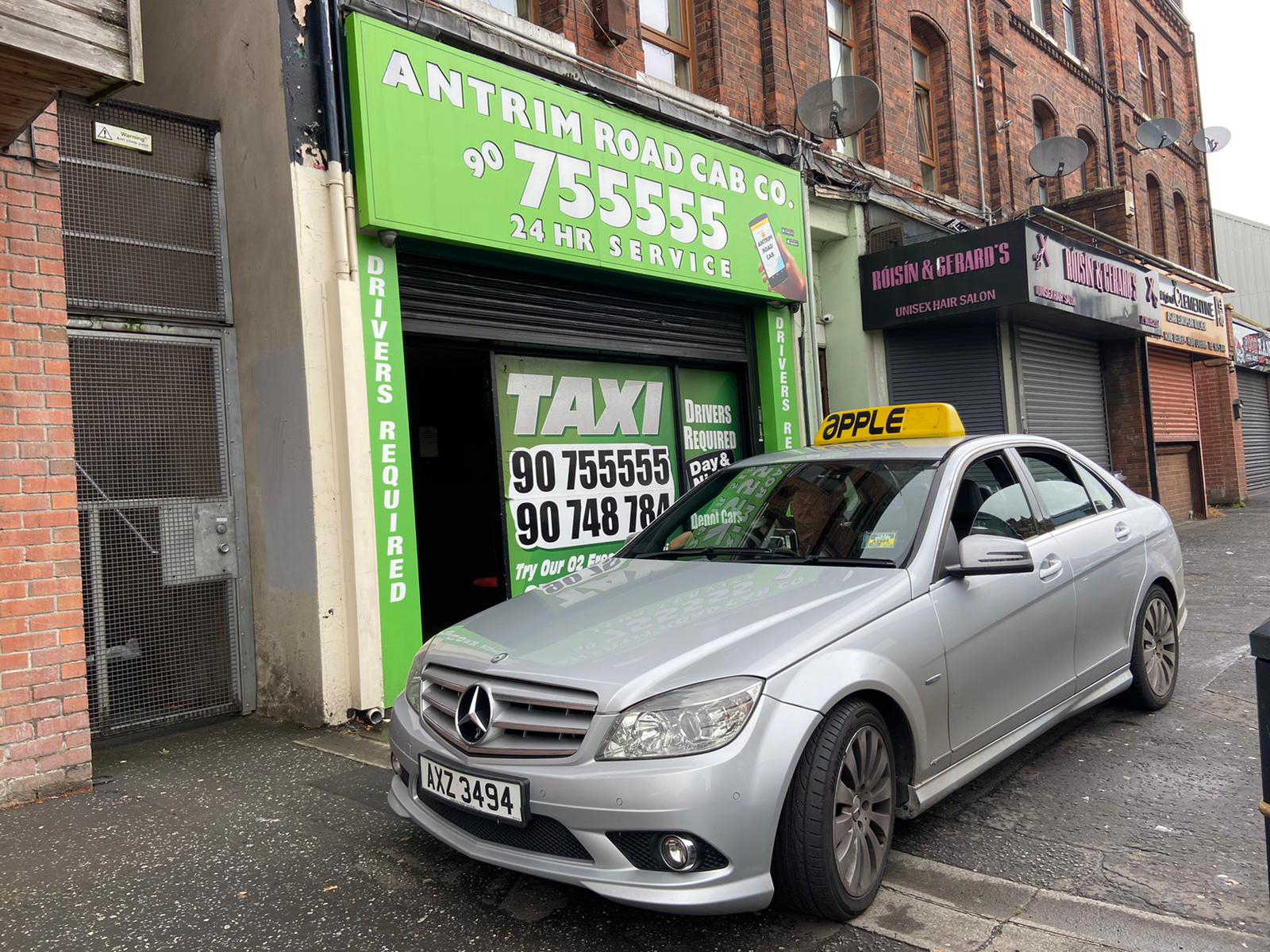GETTING YOU ON THE FAST TRACK: Apple Taxis on the Antrim Road.