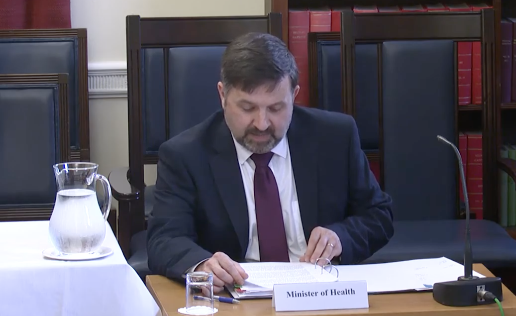 REBUILDING: Minister Robin Swann addressing the Health Committee at Stormont on Tuesday.