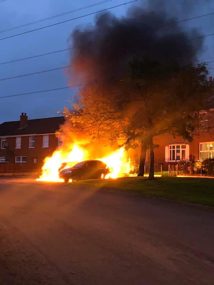 TORCHED: Cars of Sinn Féin members among those destroyed in arson attack.