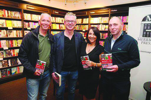 L-R: John Martin, Joe Brolly, Maria McCourt and 1993 Derry captain Henry Downey at ther launch of the book: 'The Boys of '93: Derry's All Ireland Kings' last year