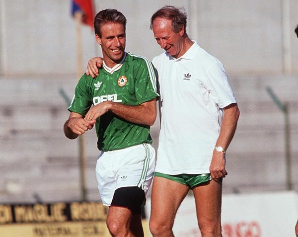 Jack Charlton with his captain in 1990, Mick McCarthy